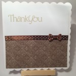 Hand made thank you card in brown